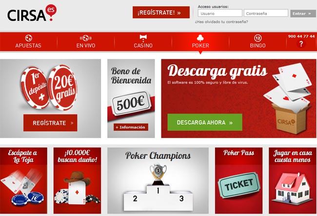registrate con cirsa para jugar poker y recibe bono binevenida