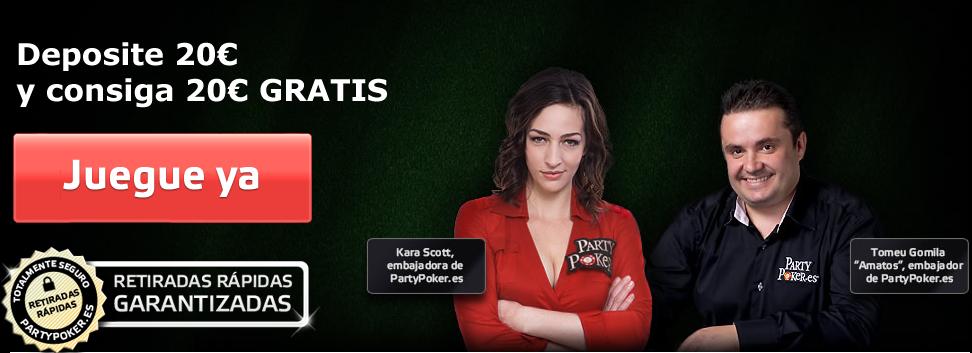 Juega poker en la sala PartyPoker y recibe tu bono de bienvenida para participar mas