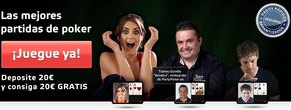 PartyPoker te da 500 euros si te registras para empezar a jugar poker en la sala