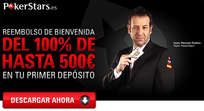 PokerStars te da 500 euros como bono de bienvenida si te registras para empezar a jugar poker en la sala
